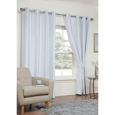 Hamilton McBride Faux Silk Eyelet Blackout White Curtains - 66x54 Inches (168x137cm)