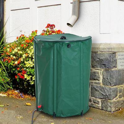 Outsunny 300L PVC Water Butt Rainsaver Free Standing Raintrap Diverter - Green