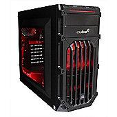 Cube Ryzen 5 Esport Red LED Gaming PC 8GB 1TB Hybrid WIFI RX 580 8GB Win 10