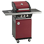MasterChef 2 Burner Gas BBQ with Side Burner, Red - With Cover