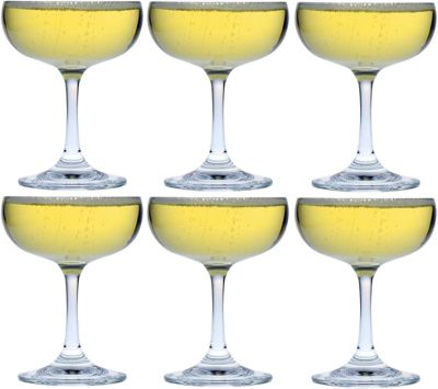 Argon Tableware Crystal Champagne Saucers - Gift Box of 6 - 180ml - 6.25oz