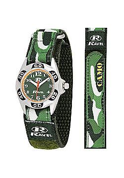 Boys Jungle Green Camouflage Velcro Strap Watch