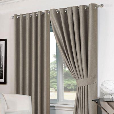 Dreamscene Pair Basket Weave Eyelet Curtains, Silver - 46