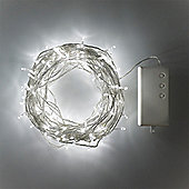 200 Cool White LED Outdoor Battery Fairy Lights on Clear Cable