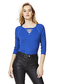 F&F Lace-Up Detail Skinny Ribbed Jumper - Blue