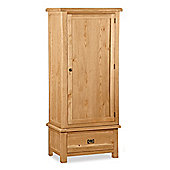 Zelah Oak Single Wardrobe with Drawer - Rustic Oak