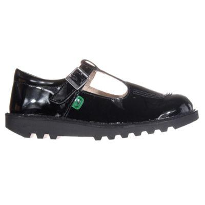 Kickers Kick T Bar Patent Leather Junior Kids School Shoe Black, UK 2