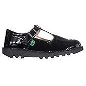 Kickers Kick T Bar Patent Leather Junior Kids School Shoe Black - Black