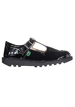 Kickers Kick T Bar Patent Leather Junior Kids School Shoe Black - Black