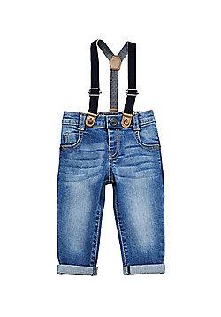 F&F Skinny Jeans with Braces - Light Wash