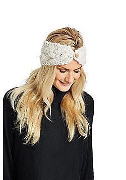 Zakti Womens Button Down 100% Acrylic Braid Stylish Headband for Snow Sports - White