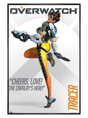 Overwatch Gloss Black Framed Tracer Poster 61 x 91.5cm