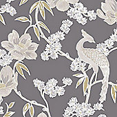 Laurence Llewelyn-Bowen Singapore Trail Floral Oriental Glitter Grey Wallpaper