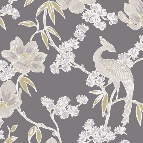 Laurence Llewelyn-Bowen Singapore Trail Floral Oriental Glitter Grey Wallpaper