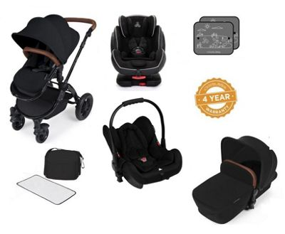 Ickle Bubba Stomp V3 AIO Isofix Travel System plus 2nd Stage Group 1,2,3 Car Seat - Black (Black Chassis)