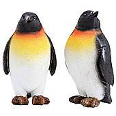 Set of 2 Small 10cm Realistic Emperor Penguin Ornament Figurines