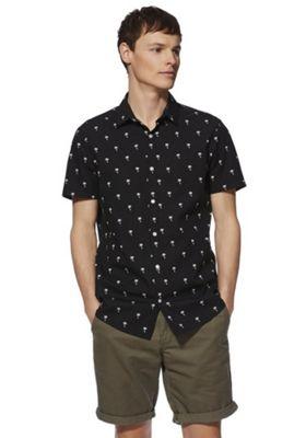 F&F Palm Print Short Sleeve Shirt Black 2XL