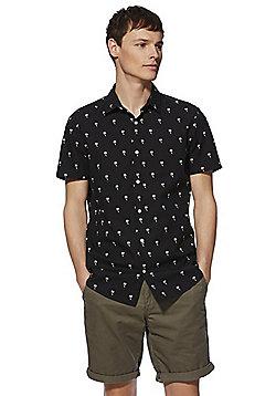 F&F Palm Print Short Sleeve Shirt - Black