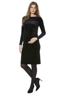 Mamalicious Sparkle Velour Maternity Dress Black XL