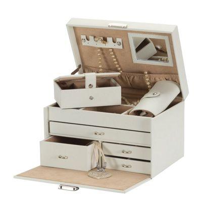 Bonded Leather Ivory Jewellery Box