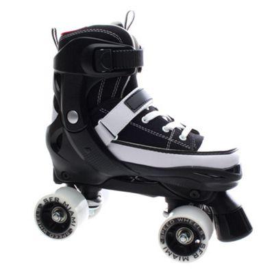 SFR Miami Adjustable Quad Roller Skates - Black / White - Medium (junior 12 - UK2)