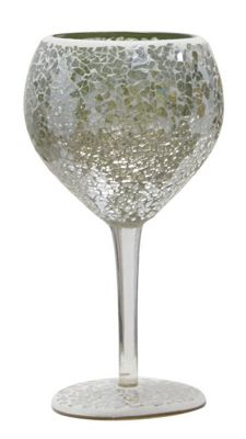 Duck Egg Small Sparkle Mosaic Goblet Decoration Glass Stem