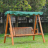 Outsunny 3 Seater Wooden Garden Swing Chair - Green