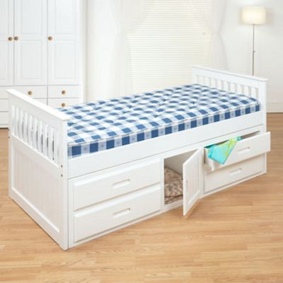 Happy Beds Captains Wood Storage Bed with Memory Foam Mattress - White - 3ft Single