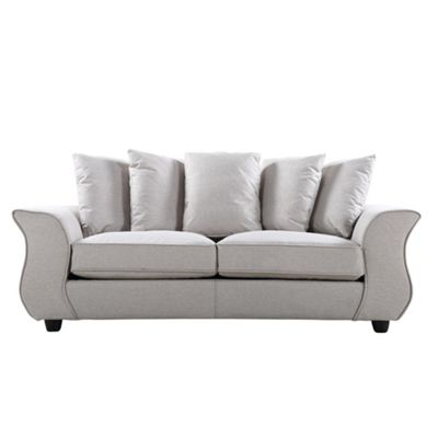 Sofa Collection Helena Herrigbone Fabric 3 Seat Sofa - Medium Grey