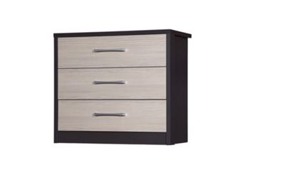 Alto Furniture Avola 3 Drawer Chest - Grey Carcass With Champagne Avola