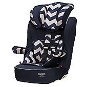 Obaby Car Seat, Group 1-2-3, Zigzag Navy