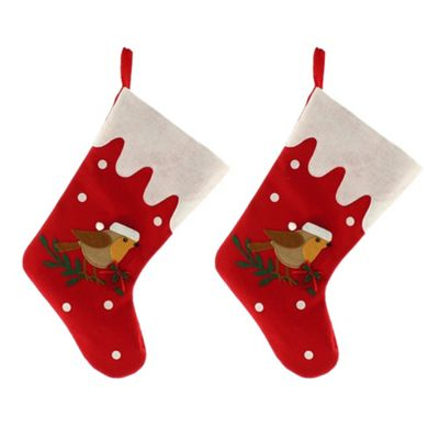 2 x Large 39cm Red Fabric & Robin Christmas Stocking