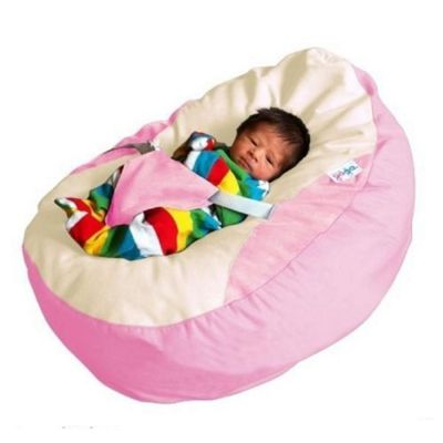 GaGa Pastel Pink Cuddlesoft Pre-Filled Baby Bean Bag with Adjustable Safety Harness
