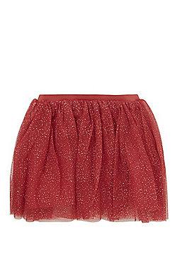 Minoti Sparkle Tulle Mesh Tutu Skirt - Red