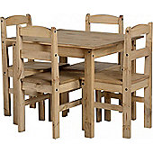 Panama 4 Seater Natural Wax Pine Wooden Dining Set / Table & 4 Chairs