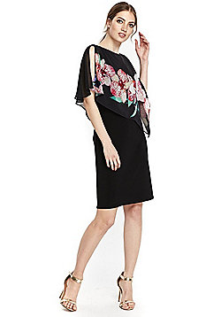 Wallis Orchid Frill Overlayer Dress - Black