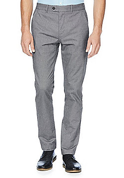 F&F Herringbone Textured Slim Fit Stretch Chinos - Grey