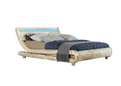 Comfy Living 4ft6 Double Crushed Velvet Curved Bed Frame with LED Display in Cream with Damask Memory Mattress