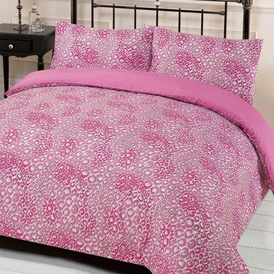 Leopard Print Reversible Quilt Cover with Pillowcase Set, Jengo Pink - Double