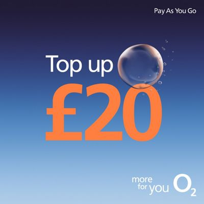 O2 £20 mobile Top Up