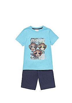 Emoji Monkey Face Pyjamas - Blue