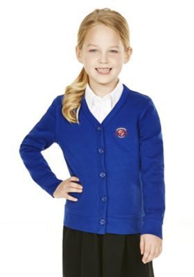 Girls Embroidered Cotton Blend School Sweatshirt Cardigan with As New Technology 7-8 years Bright royal blue