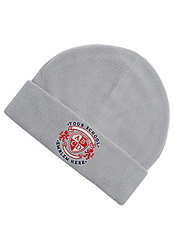 Embroidered Unisex School Fleece Beanie - Grey