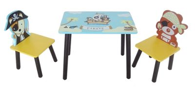 Kiddi Style Childrens Pirate Themed Wooden Table & 2 Chairs - Blue