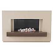 Adam Sambro Fireplace Suite in Stone Effect with Walnut Shelf