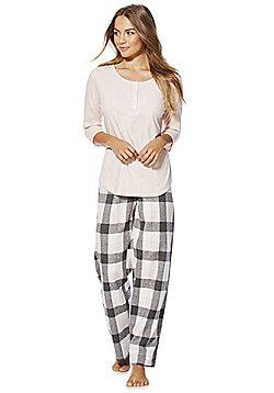F&F Checked Woven Pyjamas - Pink