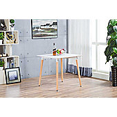 Anton White Wood Square 4 Dining Table
