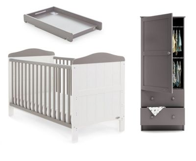 Obaby Whitby 3 Piece Room Set (Cot Top Changer) - White with Taupe Grey