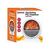 White 1500W Ceramic Oscillating Fireplace Flame Effect Heater