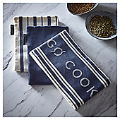 Go Cook Navy Jacquard Tea Towel 3pk